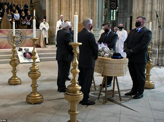 Still taken with permission from the Canterbury Cathedral YouTube feed. The coffin of Police Community Support Officer Julia James is placed in front of the altar for her funeral service at Canterbury Cathedral