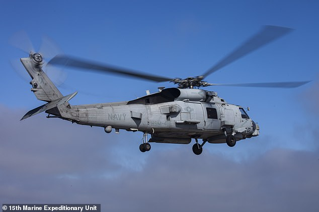 The man was flown to Nome in an MH-60 helicopter, as seen here