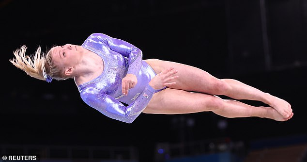 Jade Carey also wore the lavender leotard.Each one is designed, cut, and assembled in the United States, with the individual Swarovski crystals all hand-applied using a tweezer and heat