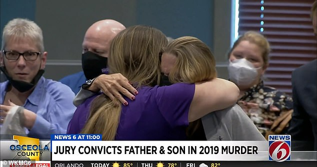Victim's relatives are seen hugging after hearing the guilty verdicts in April