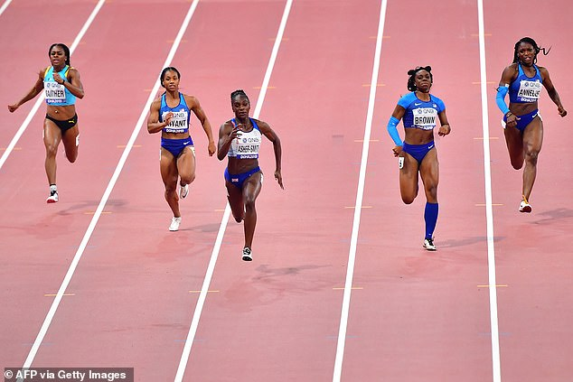 2019 World Championship winner Asher-Smith (third from left) says she's not nervous before Tokyo