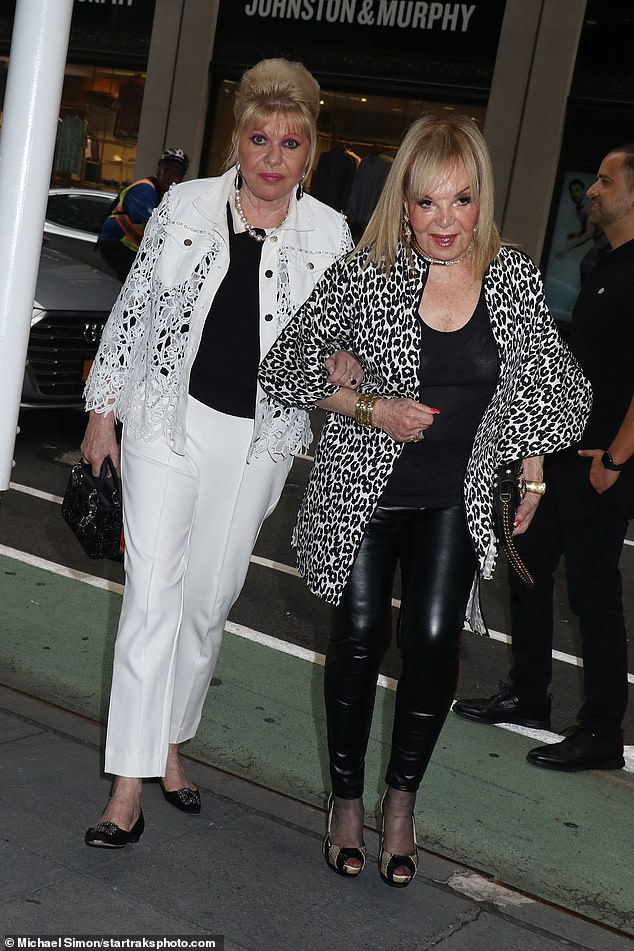 Helping Hand: Ivana held her friend for support as they walked out of the restaurant together