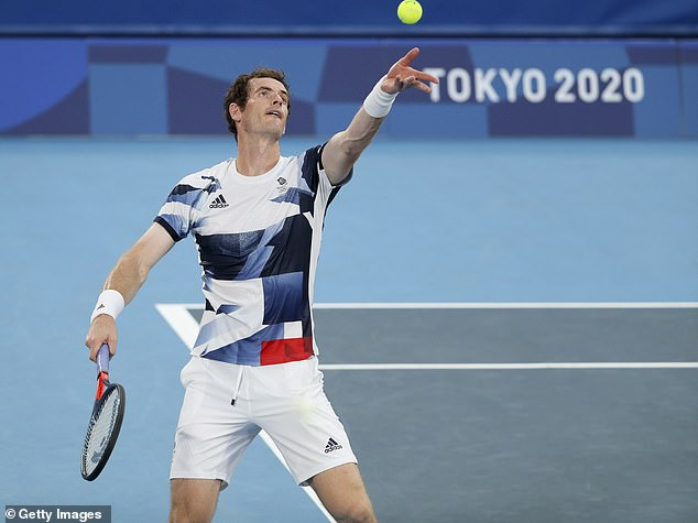 Andy Murray practices in Tokyo as he prepares to defend his Olympic tennis title