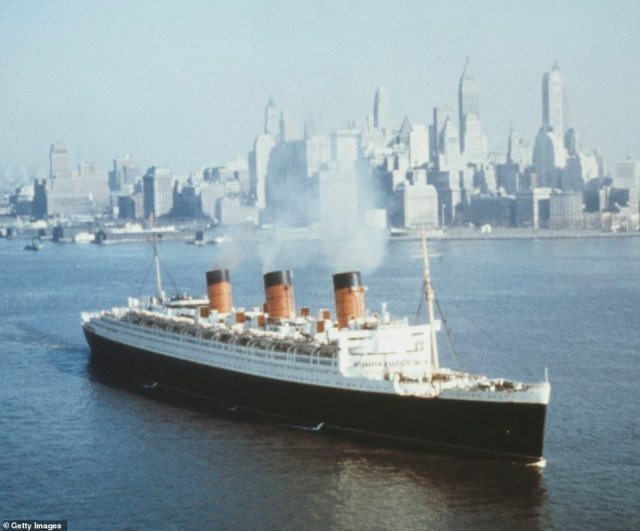 The liner frequently sailed across the Atlantic between the United Kingdom and the United States. She is pictured in New York City back in 1965
