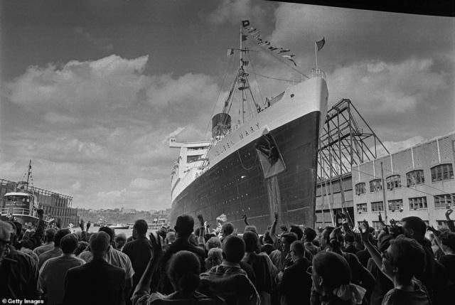The Queen Mary ocean liner is seen leaving New York City after her last voyage in September 1967. She has been docked in Long Beach, California since that time