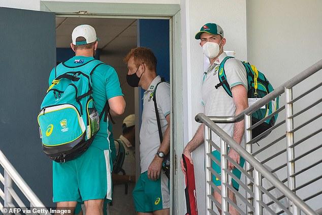 Australian players left Kensington Oval after suspension
