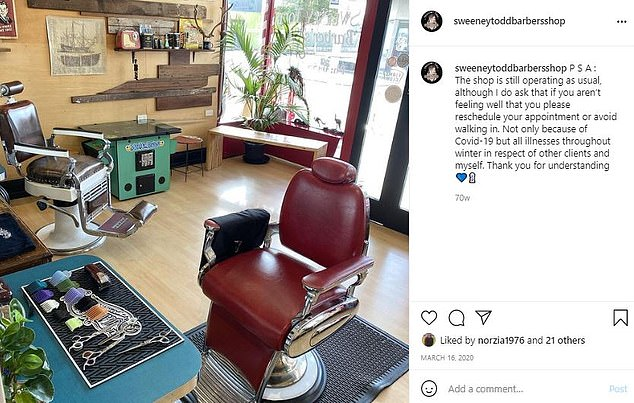 Ms Locock said the hairdresser is 'operating as usual', despite someone who has been vaccinated saying he should avoid the business out of 'respect for other customers and myself'