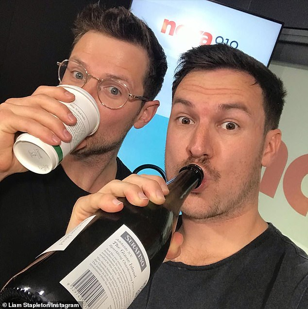 Asking the tough questions: Scott Morrison was momentarily lost for words when Nova 919 hosts Ben Harvey and Liam Stapleton (pictured) put him on the spot on another Caitlin Jenner issue