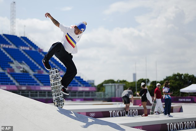 Margielynarda Didal of the Philippines trains during a street skateboarding practice session at the 2020 Summer Olympics