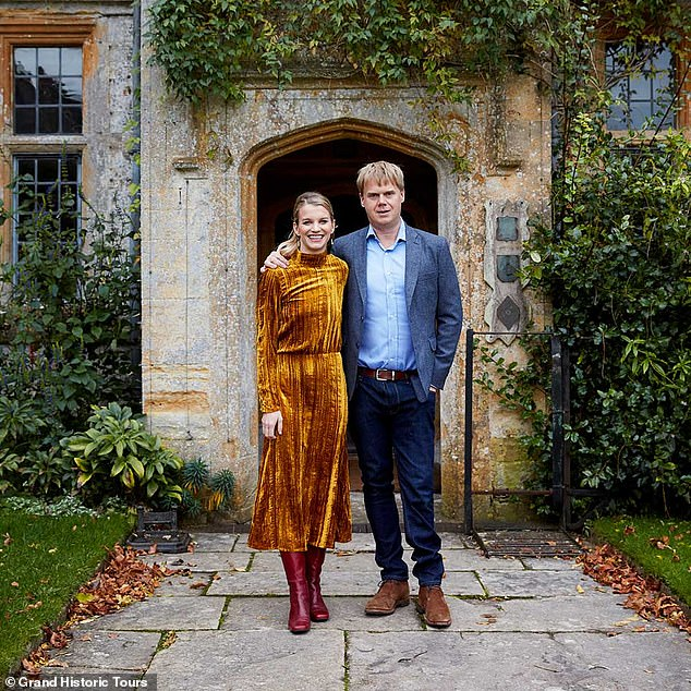Julie is pictured with her husband Luke. Viscount & Viscountess Hinchingbrooke are seen at their country seat Mapperton. Luke is the son of the 11th Earl of Sandwich