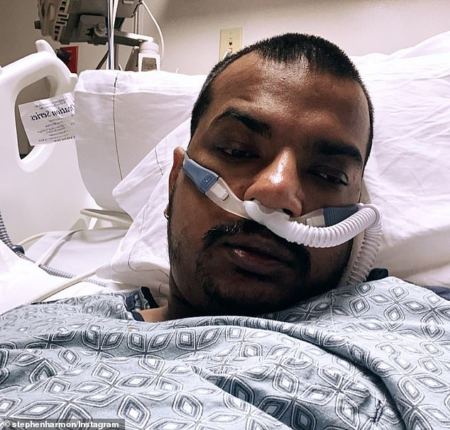 Stephen Harmon, 34, died on Wednesday at the Corona Regional Medical Center outside Los Angeles where he was being treated for COVID and pneumonia