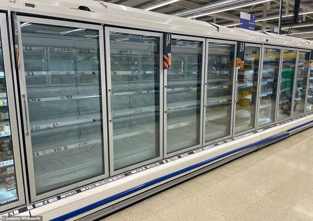 Tesco in Skegness, Lincolnshire, some freezer shelves are empty due to the 'pingdemic' as industry leaders demanded immediate action