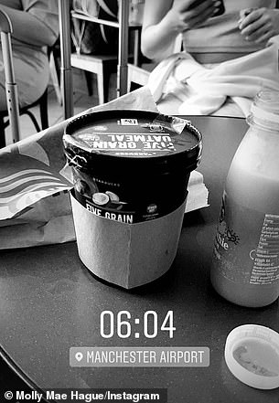 Traveling: She then shared a photo of her breakfast - a jar of oatmeal and juice - as she waited for her flight at Manchester Airport just after 6 a.m.