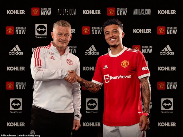 Ole Gunnar Solskjaer (left) finally got his wish as Jadon Sancho (right) completed his move