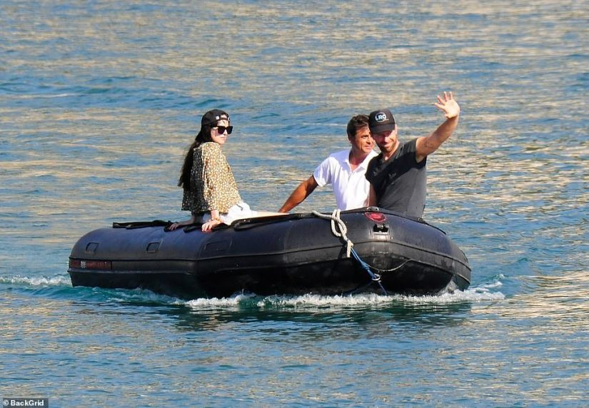 All smiles:The couple appeared in high spirits as they boarded an inflatable boat and seemingly enjoyed a water tour of the area