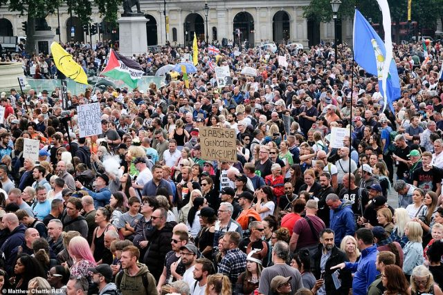 Crowds at the demonstration in central London today waved flags and held up placards