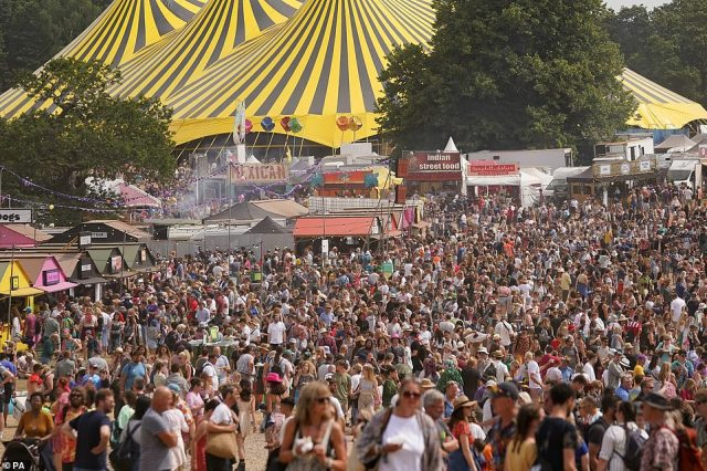 Festivalgoers (pictured) will get to enjoy sets by Rudimental, Sea Girls, Nadia Rose and Kawala on Saturday evening with no masks or social distancing as tightly packed crowds of people dance along to the upbeat music