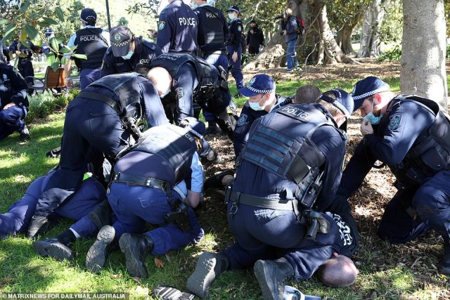 Police confirmed they made a number of arrests at the wild protest in Sydney which began at Victoria Park