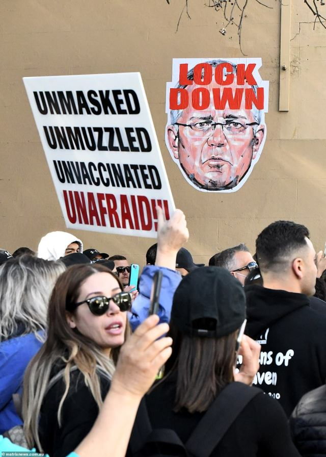 """Signs were displayed the crowd including many saying they """"unmasked and unvaccinated"""" (pictured)"""