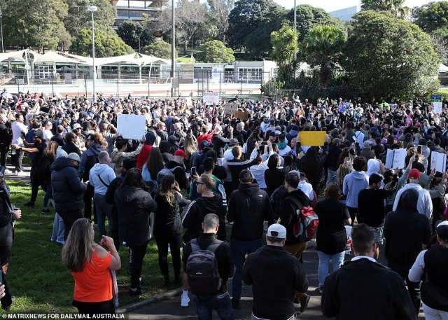 The crowd in Sydney started the day at Victoria Park (pictured) and then made their way into the city