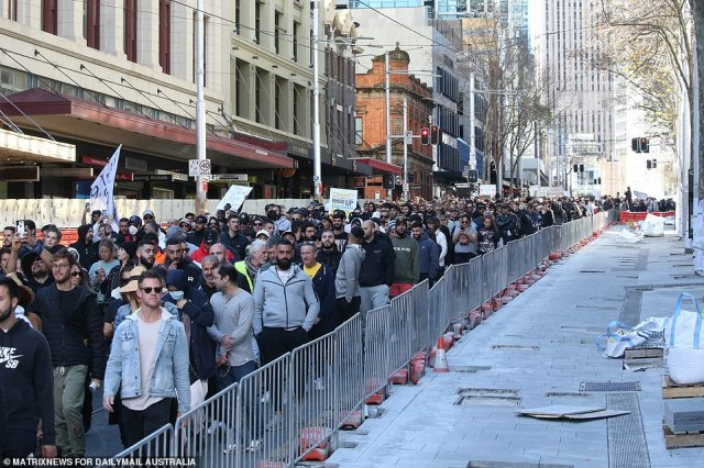 The protesters in their thousands make their way through the Sydney CBD on Saturday afternoon (pictured)