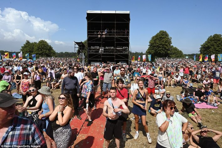 Earlier today, blue skies covered the festival, with people wearing summer clothing as they watched Griff perform at Henham Park in Southwold