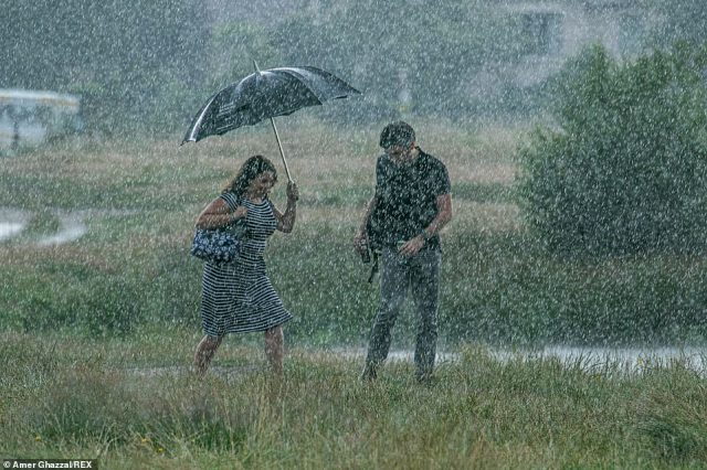 Parts of south east England saw up to 50mm of rain in just an hour on Sunday afternoon as the area was battered by torrential rain (Pictured: People walking in Wimbledon Common, south west London, shelter from heavy showers under an umbrella)
