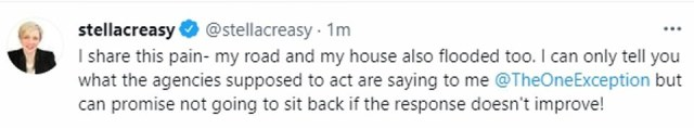 Walthamstow MP Stella Creasey told constituents she could 'share this pain' because her house had also been flooded