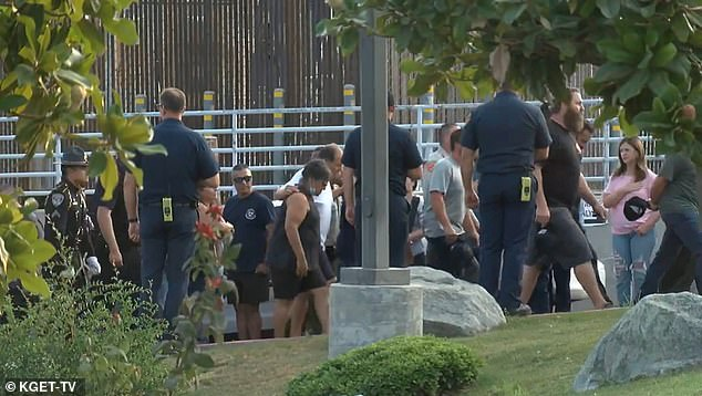 Members of the fallen officers family could be seen walking away from the hospital