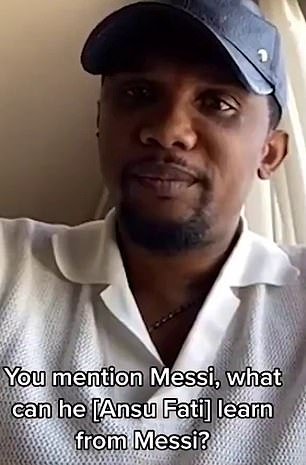 The Cameroonian was asked what Ansu Fati can learn from Messi, as he played with the Argentine