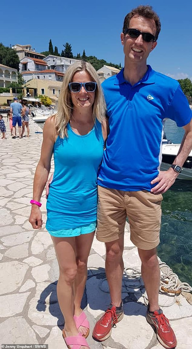 Jenny Urquhart, 45, from Bristol, (pictured with husband Stu) lost her wedding ring while she was surfing in Devon