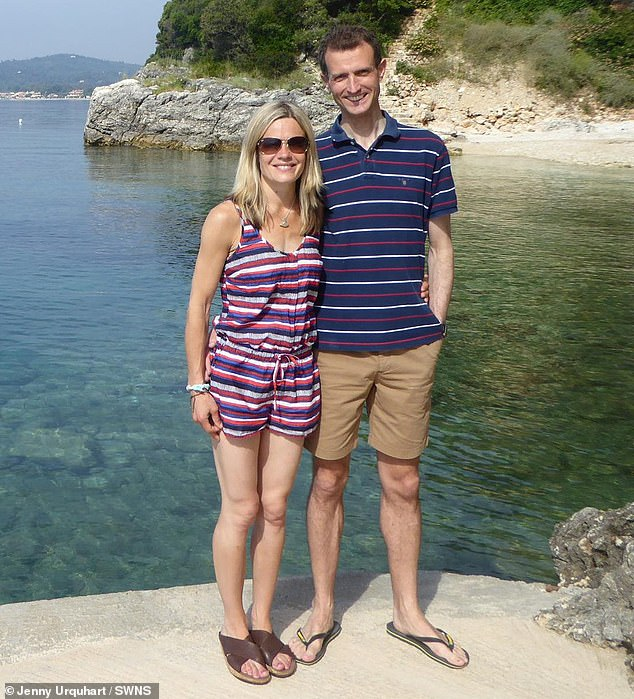 Jenny and Stu had come to terms with the fact they would never see the ring again but were amazed when he told her the good news. Pictured: The couple on holiday in Corfu