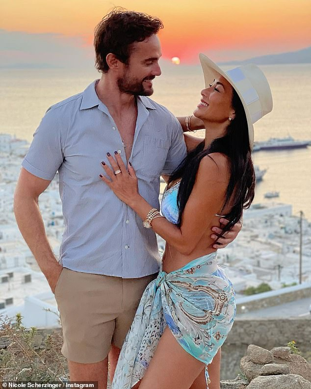 Getaway: The outing comes after Scherzinger and former rugby player beau Thom Evans, 36, escaped the chaos of the pandemic to hide in the luxury Kenshō resort in Mykonos in recent weeks