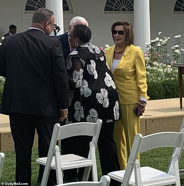 McCarthy attended the same event at the White House as House Speaker Nancy Pelosi, who he had a terse phone call with last week, according to CNN, after she nixed two of the Republican members he selected for the committee - adding Kinzinger, an anti-Trump Republican, instead