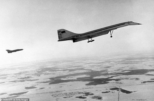 Soviet aircraft Tupolev Tu-144 is seen, 12 December 1968, during its maiden flight. It was built under the direction of engineer Alexei Tupolev
