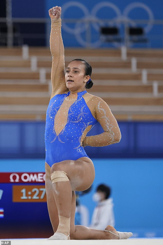Luciana Alvarado, of Costa Rica, performs her floor exercise routine during the women's artistic gymnastic qualifications at the 2020 Summer Olympics