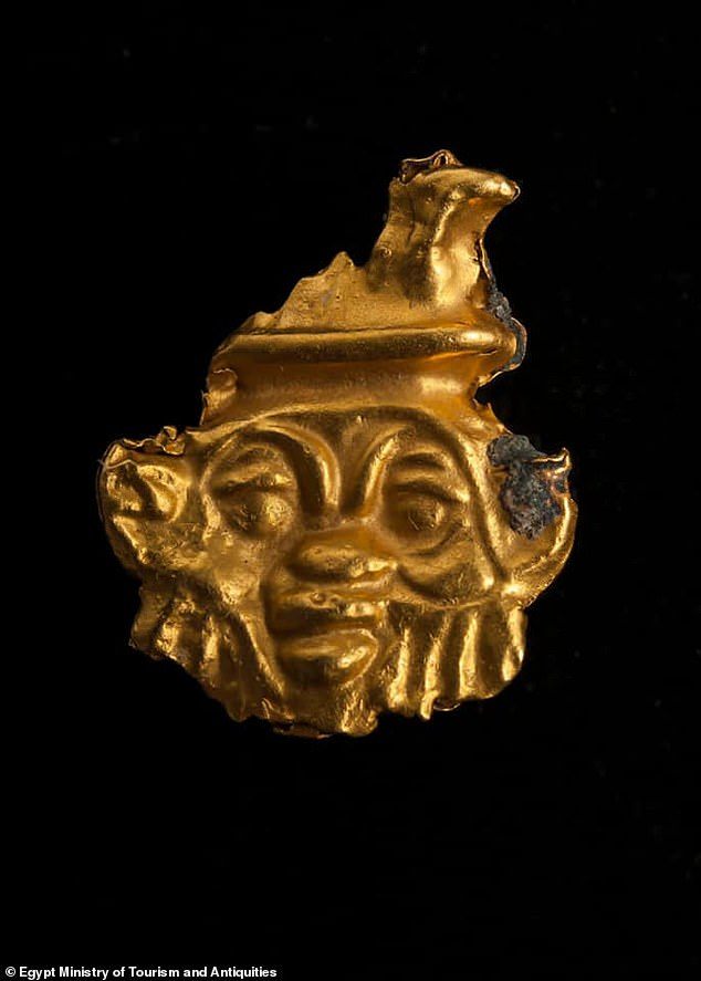 In the funerary area, experts uncovered a gold amulet of the Egyptian god Bes, often associated with childbirth, fertility, sexuality, humor and war