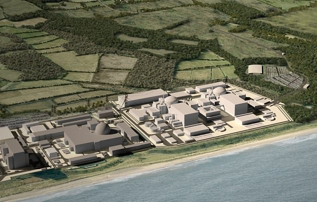 Ministers may buy a stake in the Sizewell C nuclear power plant amid concerns about the involvement of China's nuclear energy company in key British infrastructure projects. Pictured: How the Sizewell C plant will look