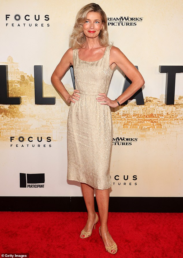 Golden gal:The 56-year-old supermodel attended the Stillwater premiere at the Rose Theater at Lincoln Center in a gold tunic dress