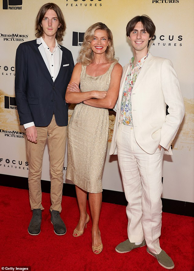 Family affair: Paulina was joined on the red carpet by her sons Oliver Orion Ocasek, 23, and Jonathan Raven Ocasek, 27, from her marriage to late rocker Ric Ocasek, who died at age 75 in September 2019