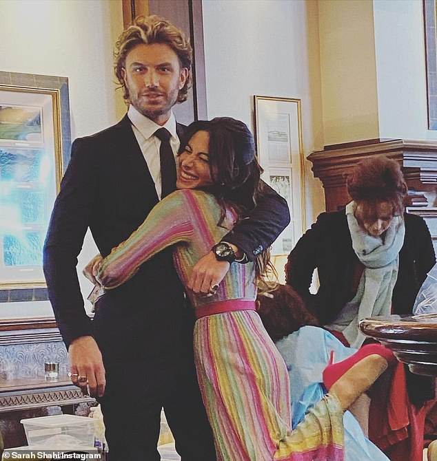 Happy:Meanwhile, Adam recently discussed his budding romance with the former NFL cheerleader Sarah Shahi after meeting on set. He told The Daily Telegraph: 'What I will say and I am always happy to say, is that I am a lucky man and it is happy days'