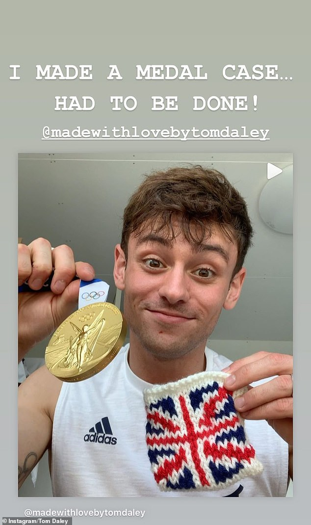 Mission accomplished:Last week Tom revealed he had knitted an emotional keepsake to forever remind him of his first gold medal at Tokyo 2020 - a customised gold medal pouch