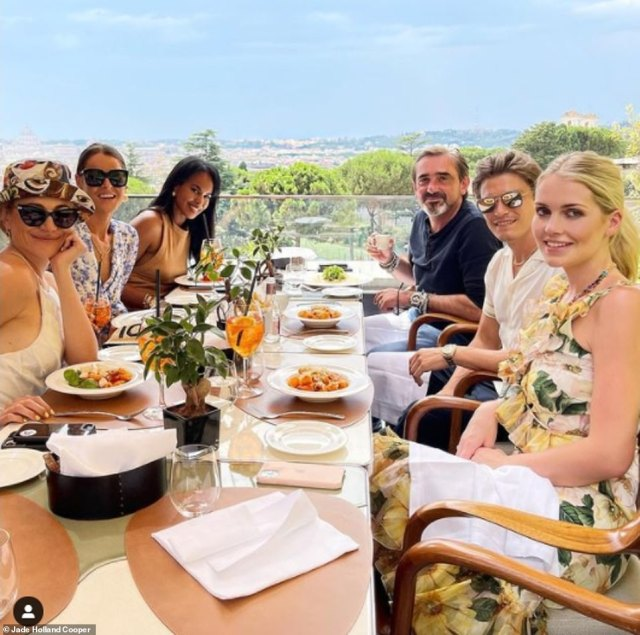 Party people! Lady Kitty Spencer (right) joined friends including (from left) singer Pixie Lott, designer Jade Holland Cooper, Sabrina Elba and Superdry founder Julian Dunkerton, for a meal at an upmarket restaurant. The radiant newlywed wore yet another D&G creation