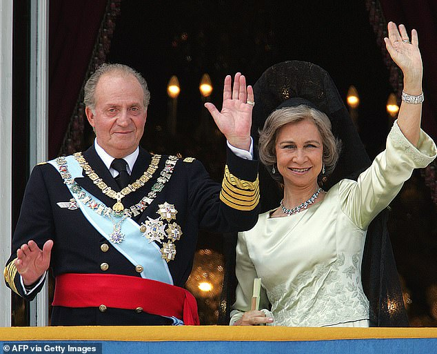 Corinna had an affair with the 83-year-old monarch - who is married to Queen Sofia, 82, pictured together in May 2004 - between 2004 and 2009