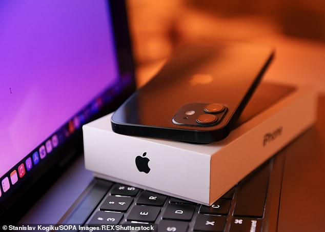An Apple iPhone 12 is seen next to a MacBook Pro. Sales of iPhones were up 50 per cent in the three months to June