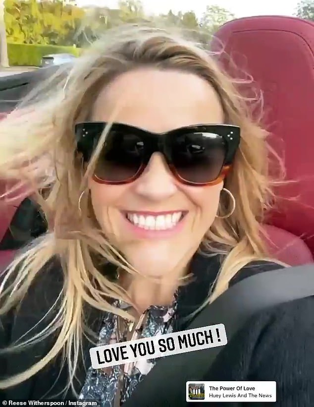 Need for speed: Reese Witherspoon, 45, continued her husband Jim Toth's birthday celebrations with a windswept ride in a convertible on Tuesday