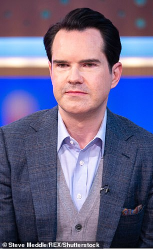 The way we know him: Jimmy Carr, 48, is known for his trademark suarve appearance