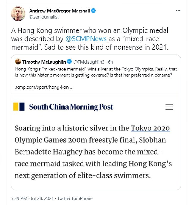 The South China Morning Post was inundated with online backlash after describing the silver medalist as a 'mixed-race mermaid