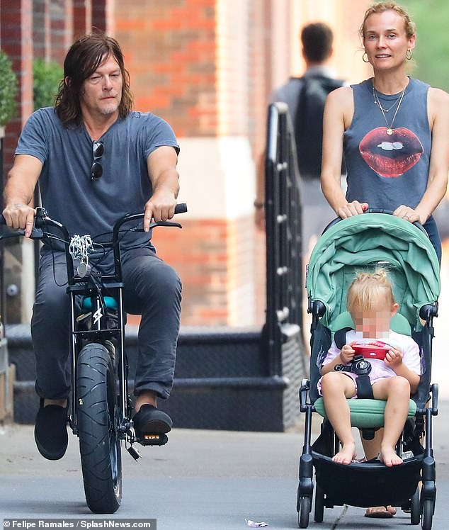 So adorable: Diane Kruger is back in New York City and was spotted spending time with family this week with her longtime beau Norman Reedus and their two-year-old daughter