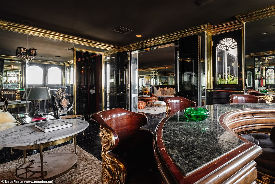 Funhouse: mirrors evoke a nightlife atmosphere as well as several bar corners